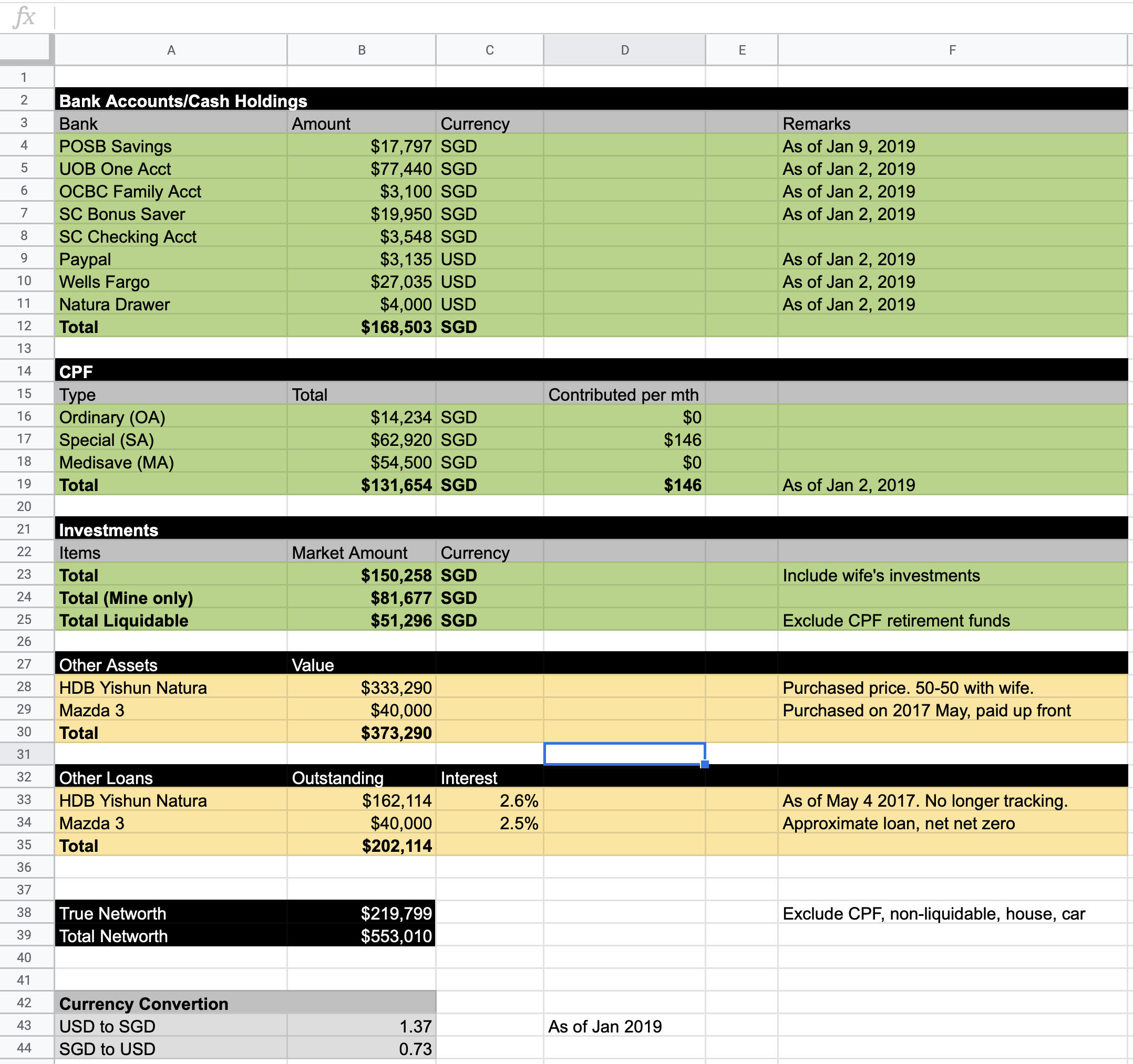 My Spreadsheet