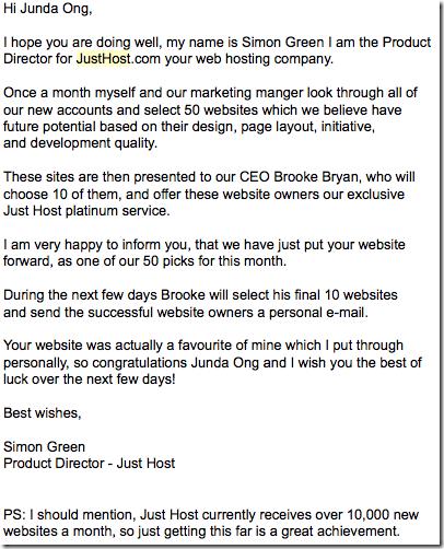We have chosen your website