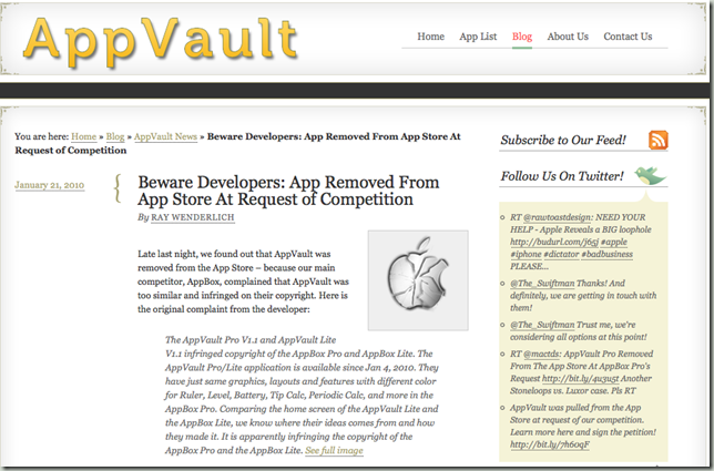 AppVault copyrighted broken