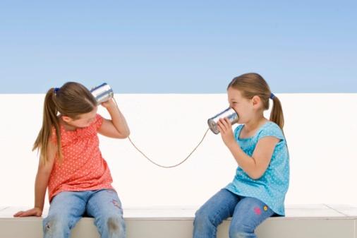 children talk tin can